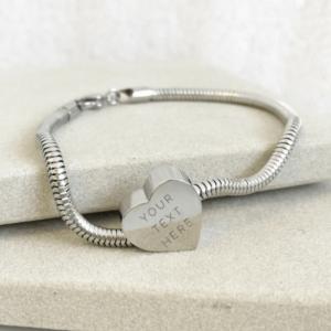 Engraved Bead Snake Chain Bracelet