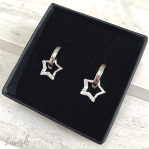 Silver Crystal Star Earrings