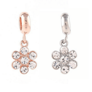 crystal flower dangle bead