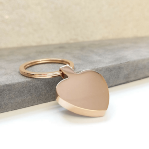 Engraved Heart Keyring - Rose Gold