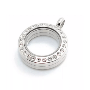 mini diamante silver lavish locket