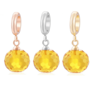 Yellow crystal dangle beads