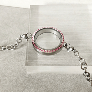 NEW Pink Crystal Locket Bracelet