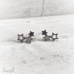 Silver Crystal Star Stud Earrings