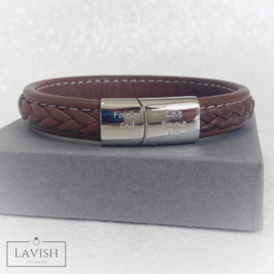 Men's Engraved Leather Bracelet - Brown